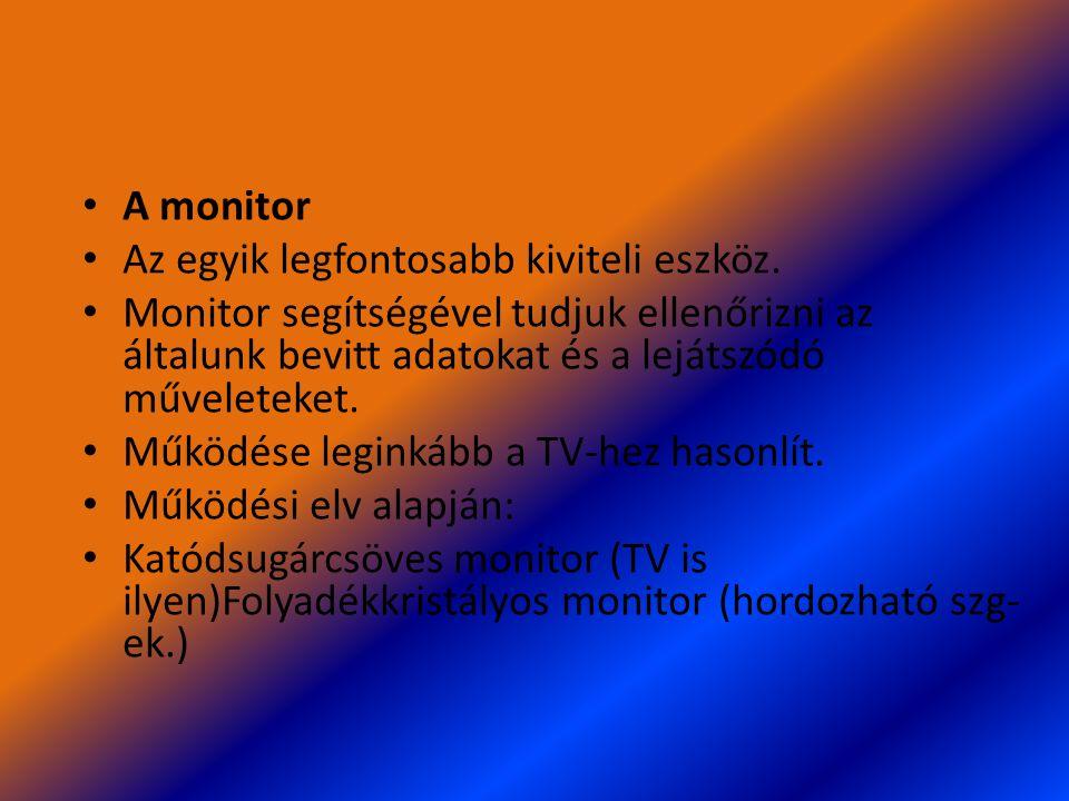 A monitor Az egyik legfontosabb kiviteli eszköz. Monitor segítségével tudjuk ellenőrizni az általunk bevitt adatokat és a lejátszódó műveleteket. Műkö