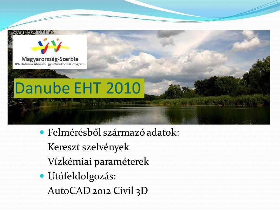 Danube EHT 2010 Felmérésből származó adatok: Kereszt szelvények Vízkémiai paraméterek Utófeldolgozás: AutoCAD 2012 Civil 3D