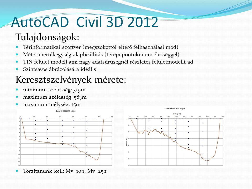 AutoCAD Civil 3D 2012 Tulajdonságok: Térinformatikai szoftver (megszokottól eltérő felhasználási mód) Méter mértékegység alapbeállítás (terepi pontokra cm élességgel) TIN felület modell ami nagy adatsűrűségnél részletes felületmodellt ad Szintsávos ábrázolására ideális Keresztszelvények mérete: minimum szélesség: 319m maximum szélesség: 583m maximum mélység: 15m Torzítanunk kell: Mv=10:1; Mv=25:1