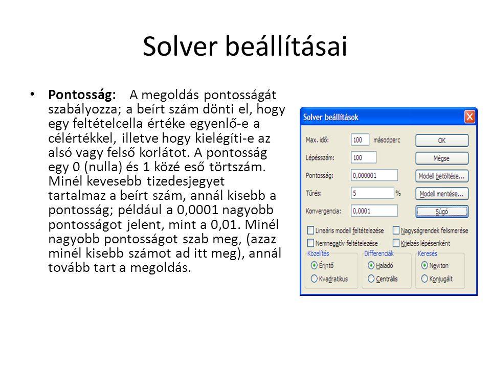 Solver beállításai Pontosság: A megoldás pontosságát szabályozza; a beírt szám dönti el, hogy egy feltételcella értéke egyenlő-e a célértékkel, illetv
