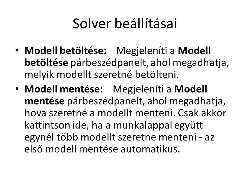 Solver beállításai Modell betöltése: Megjeleníti a Modell betöltése párbeszédpanelt, ahol megadhatja, melyik modellt szeretné betölteni. Modell mentés