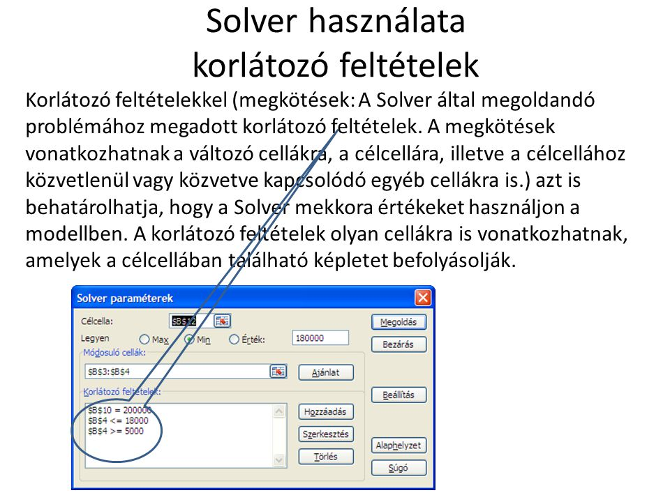 Solver használata korlátozó feltételek Korlátozó feltételekkel (megkötések: A Solver által megoldandó problémához megadott korlátozó feltételek. A meg