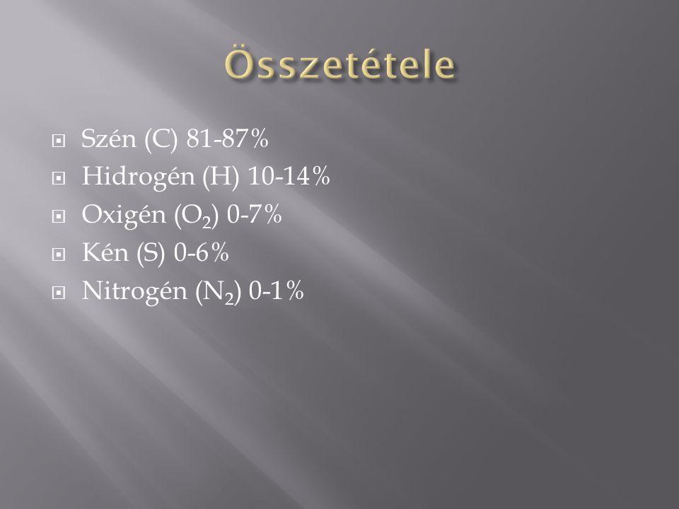  Szén (C) 81-87%  Hidrogén (H) 10-14%  Oxigén (O 2 ) 0-7%  Kén (S) 0-6%  Nitrogén (N 2 ) 0-1%