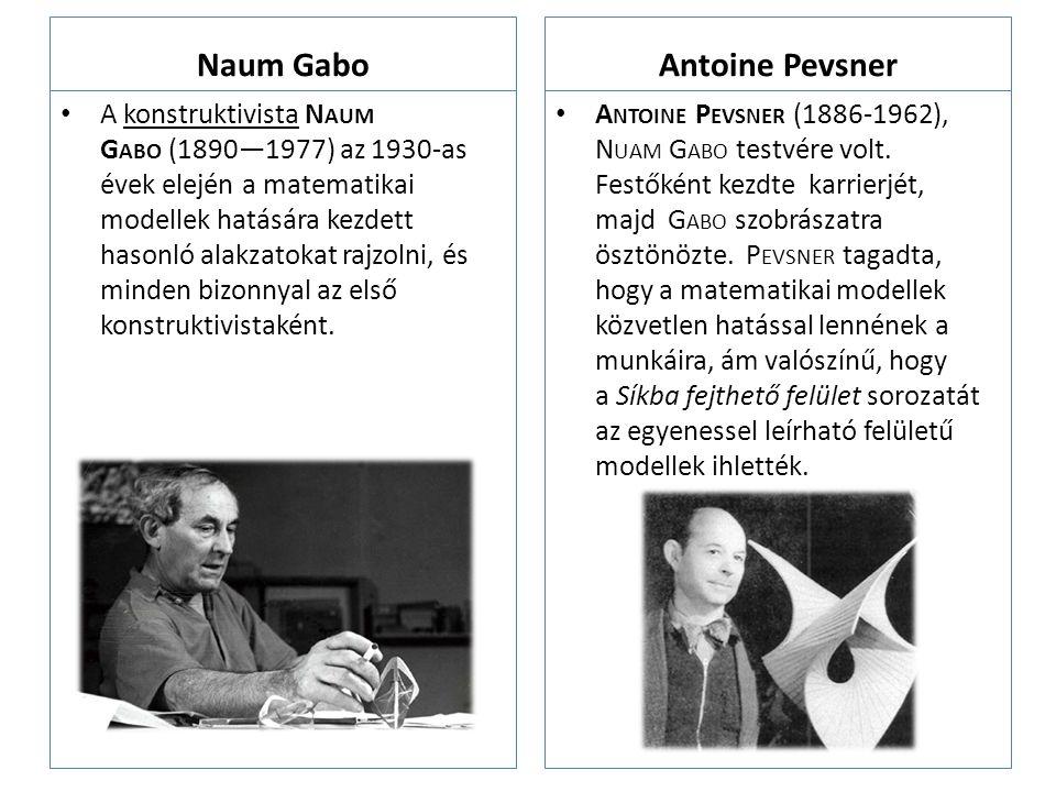 Naum Gabo A konstruktivista N AUM G ABO (1890—1977) az 1930-as évek elején a matematikai modellek hatására kezdett hasonló alakzatokat rajzolni, és mi