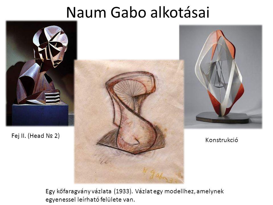 Naum Gabo alkotásai Fej II. (Head № 2) Konstrukció Egy kőfaragvány vázlata (1933). Vázlat egy modellhez, amelynek egyenessel leírható felülete van.