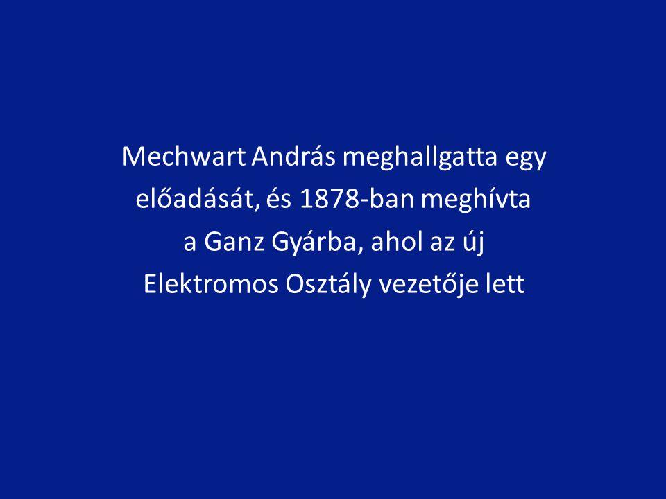 Mechwart András meghallgatta egy előadását, és 1878-ban meghívta a Ganz Gyárba, ahol az új Elektromos Osztály vezetője lett