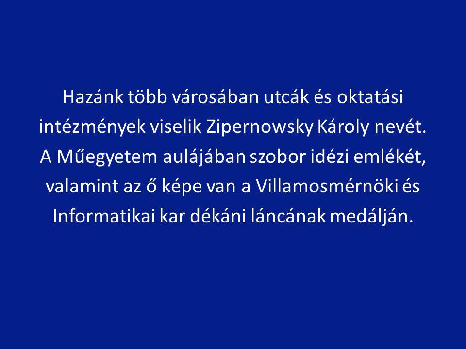 Hazánk több városában utcák és oktatási intézmények viselik Zipernowsky Károly nevét.