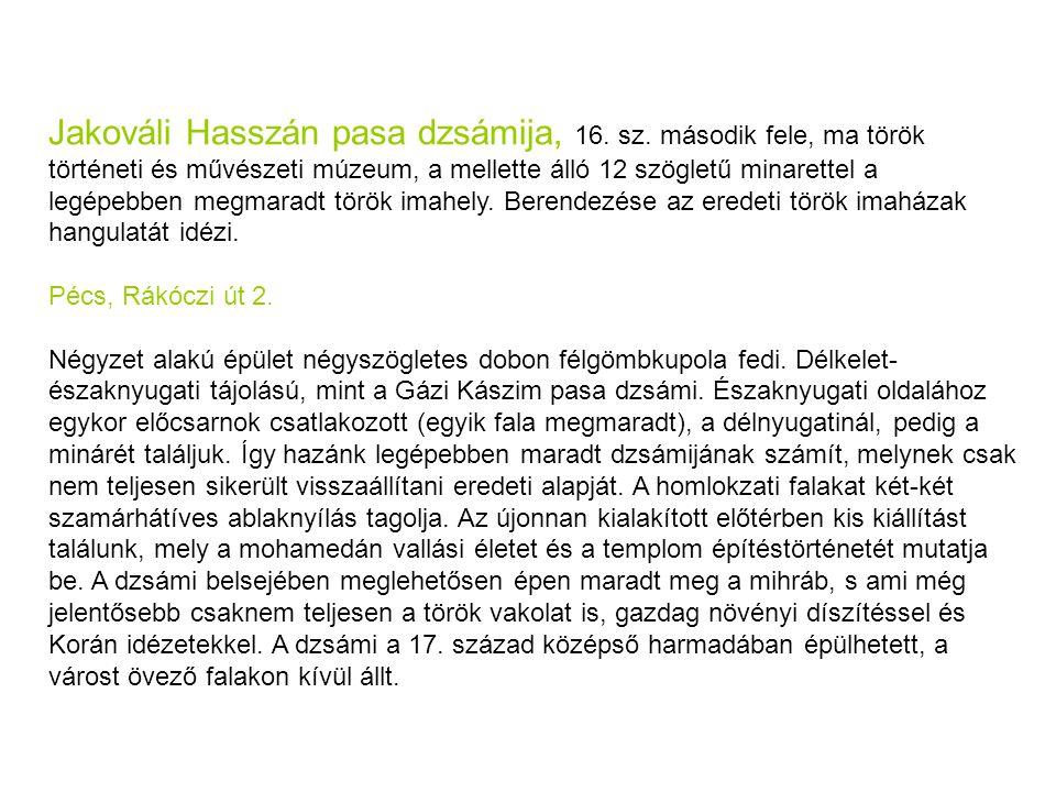 Jakováli Hasszán pasa dzsámija, 16.sz.