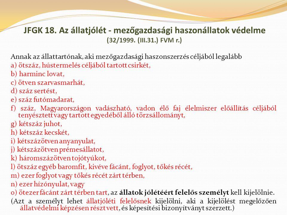 JFGK 18. Az állatjólét - mezőgazdasági haszonállatok védelme (32/1999. (III.31.) FVM r.) Annak az állattartónak, aki mezőgazdasági haszonszerzés céljá