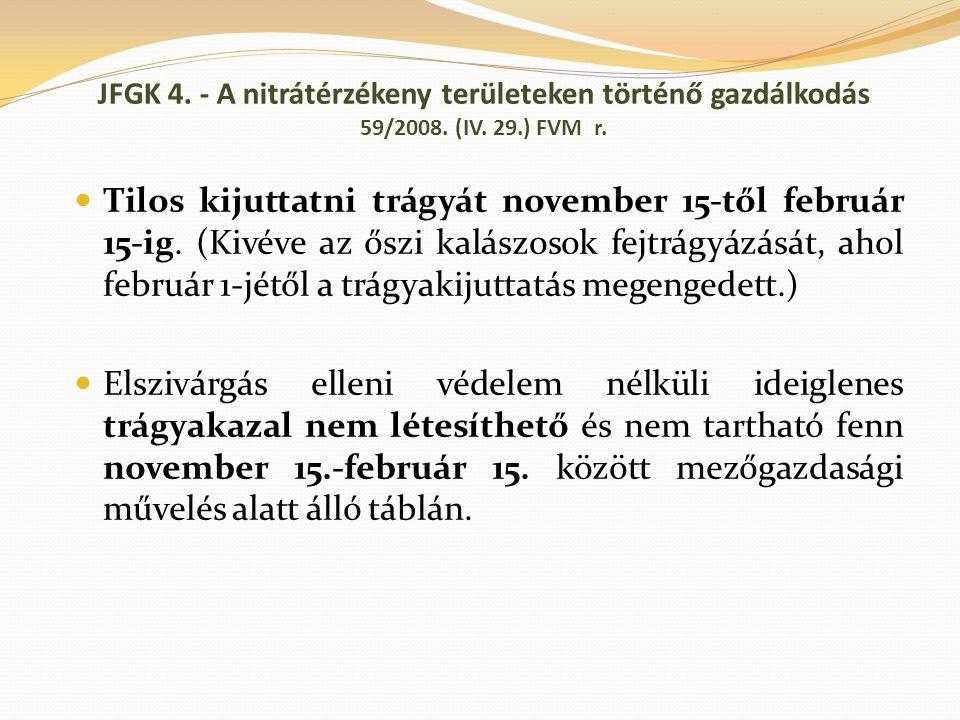 JFGK 4. - A nitrátérzékeny területeken történő gazdálkodás 59/2008. (IV. 29.) FVM r. Tilos kijuttatni trágyát november 15-től február 15-ig. (Kivéve a