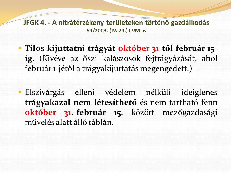 Tilos kijuttatni trágyát október 31-től február 15- ig. (Kivéve az őszi kalászosok fejtrágyázását, ahol február 1-jétől a trágyakijuttatás megengedett