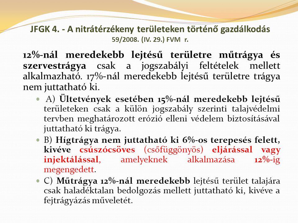 12%-nál meredekebb lejtésű területre műtrágya és szervestrágya csak a jogszabályi feltételek mellett alkalmazható. 17%-nál meredekebb lejtésű területr