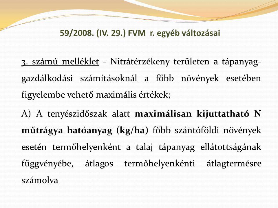 59/2008. (IV. 29.) FVM r. egyéb változásai 3. számú melléklet - Nitrátérzékeny területen a tápanyag- gazdálkodási számításoknál a főbb növények esetéb