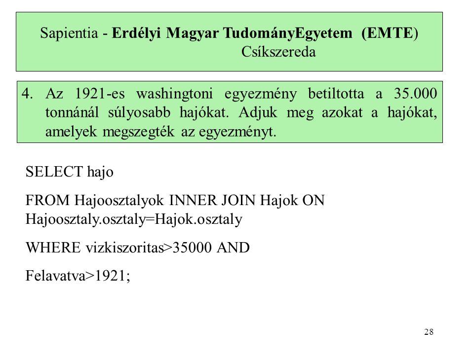 Sapientia - Erdélyi Magyar TudományEgyetem (EMTE) Csíkszereda 4.Az 1921-es washingtoni egyezmény betiltotta a 35.000 tonnánál súlyosabb hajókat. Adjuk