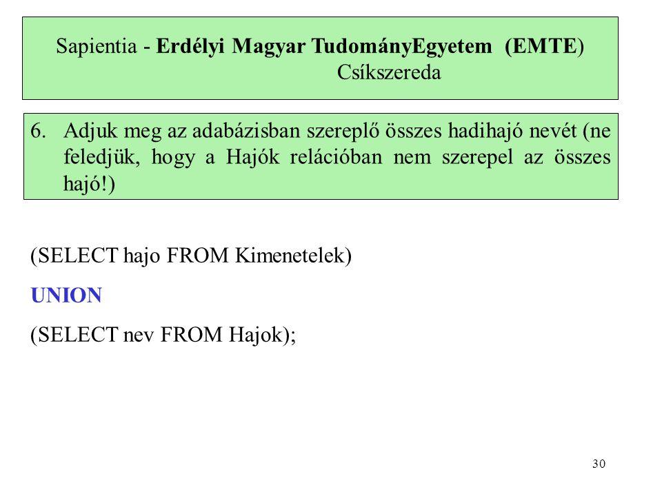 Sapientia - Erdélyi Magyar TudományEgyetem (EMTE) Csíkszereda 6.Adjuk meg az adabázisban szereplő összes hadihajó nevét (ne feledjük, hogy a Hajók rel
