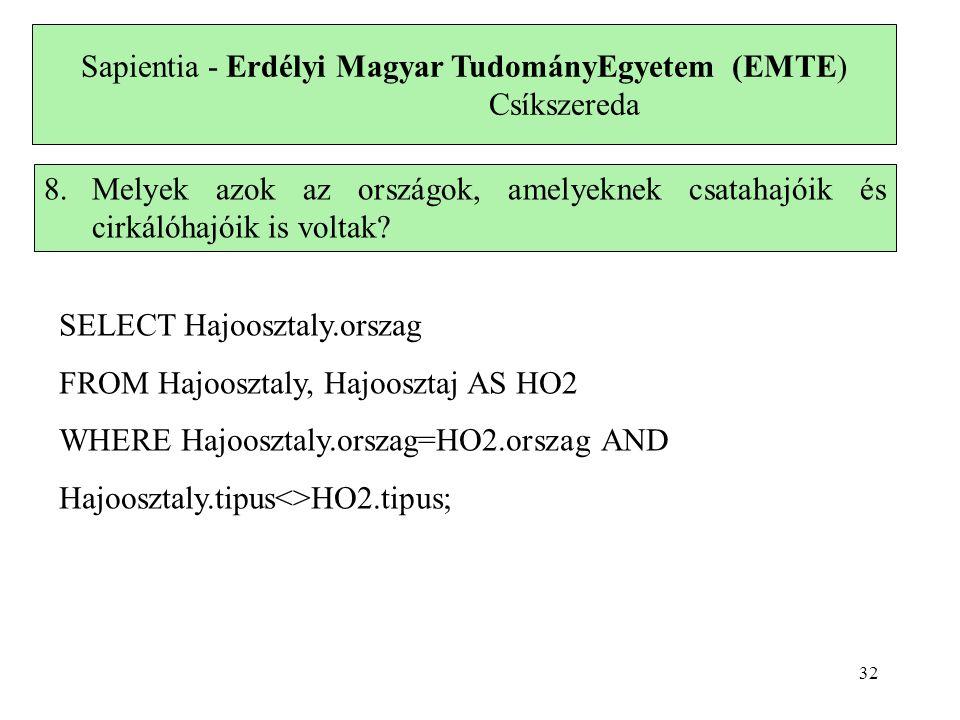Sapientia - Erdélyi Magyar TudományEgyetem (EMTE) Csíkszereda 8.Melyek azok az országok, amelyeknek csatahajóik és cirkálóhajóik is voltak.