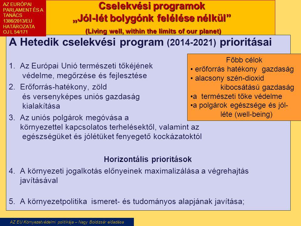 """Cselekvési programok """"Jól-lét bolygónk felélése nélkül"""" (Living well, within the limits of our planet) A Hetedik cselekvési program (2014-2021) priori"""