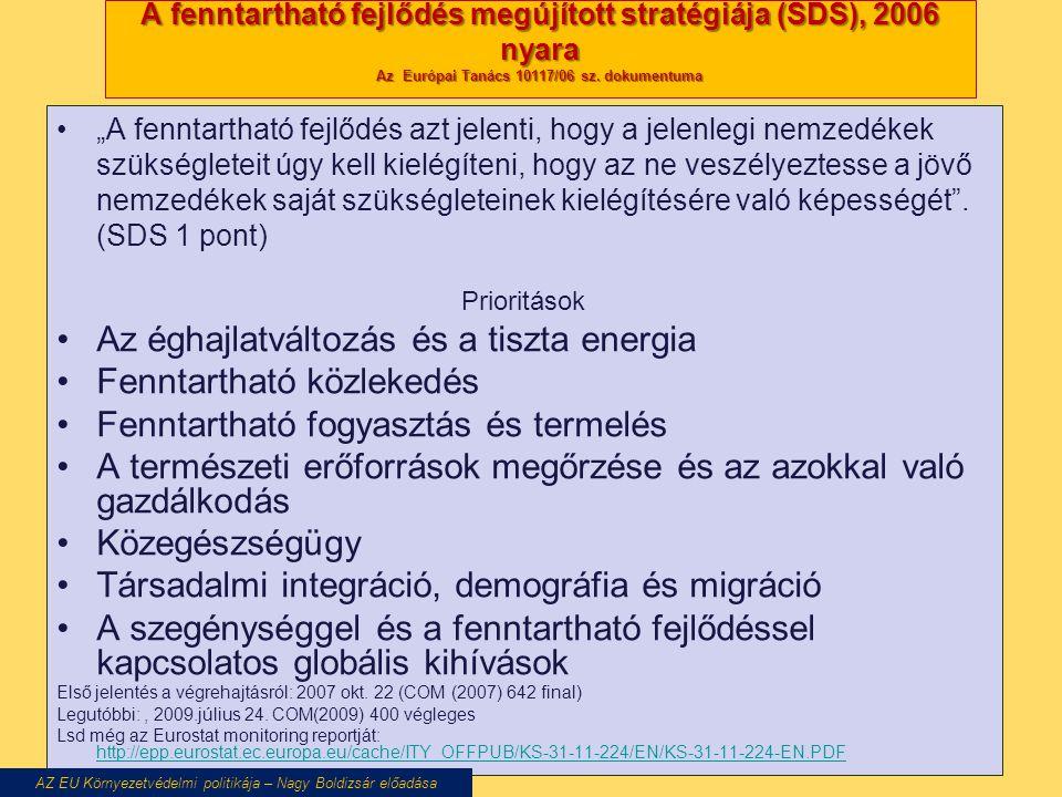 """A fenntartható fejlődés megújított stratégiája (SDS), 2006 nyara Az Európai Tanács 10117/06 sz. dokumentuma """"A fenntartható fejlődés azt jelenti, hogy"""