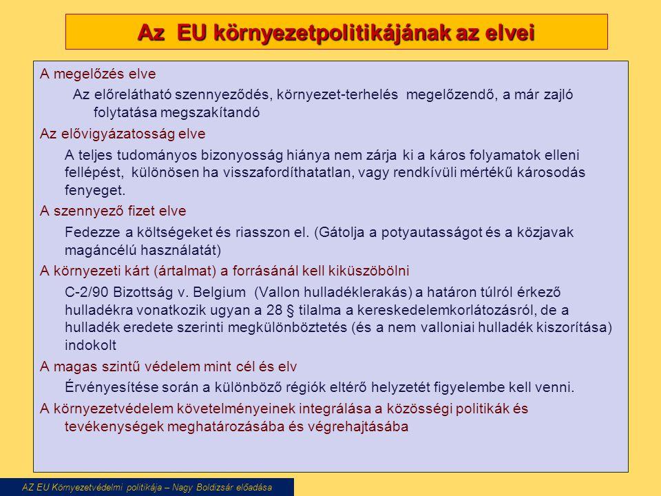 Az EU környezetpolitikájának az elvei A megelőzés elve Az előrelátható szennyeződés, környezet-terhelés megelőzendő, a már zajló folytatása megszakíta