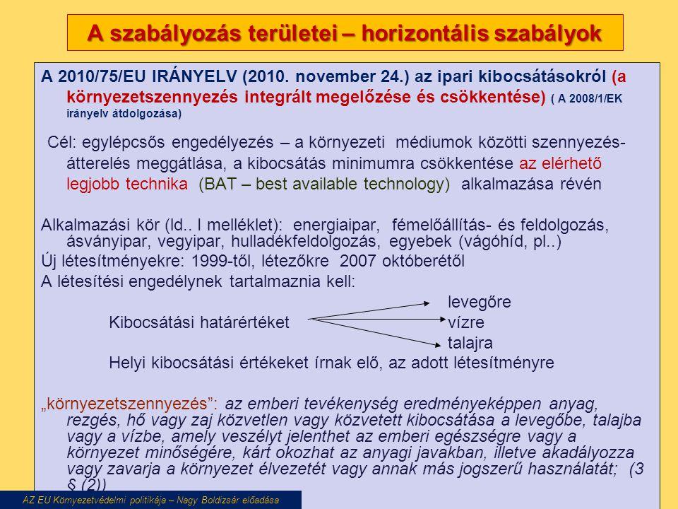 A szabályozás területei – horizontális szabályok A 2010/75/EU IRÁNYELV (2010. november 24.) az ipari kibocsátásokról (a környezetszennyezés integrált