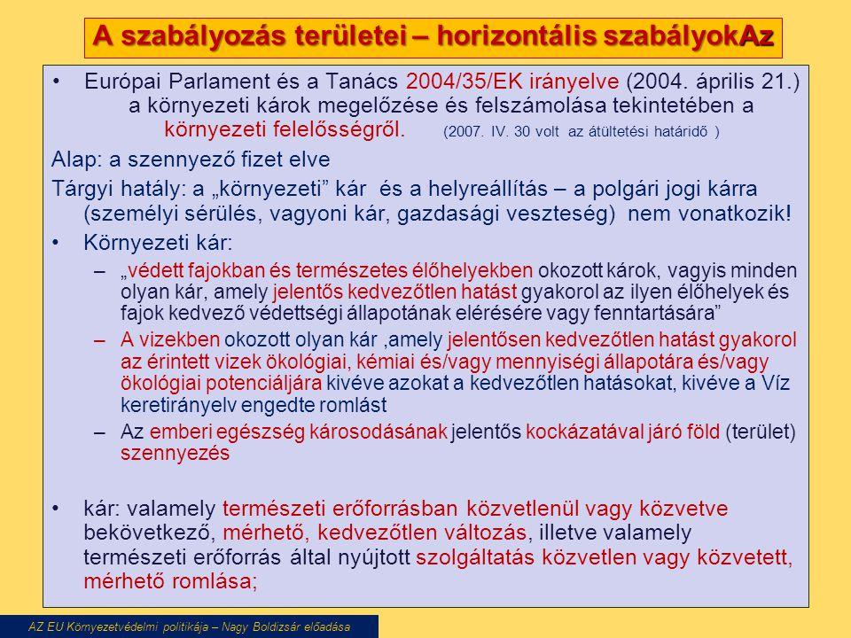 A szabályozás területei – horizontális szabályokAz Európai Parlament és a Tanács 2004/35/EK irányelve (2004. április 21.) a környezeti károk megelőzés