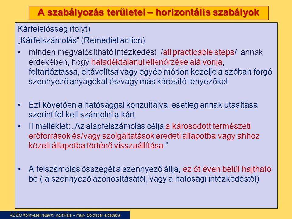 """A szabályozás területei – horizontális szabályok Kárfelelősség (folyt) """"Kárfelszámolás"""" (Remedial action) minden megvalósítható intézkedést /all pract"""