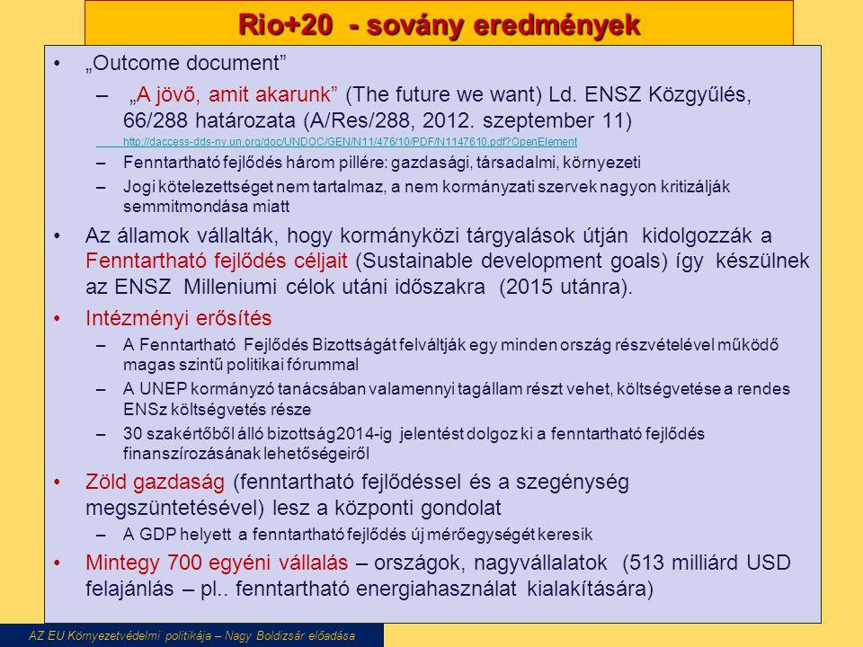 """Rio+20 - sovány eredmények """"Outcome document"""" – """"A jövő, amit akarunk"""" (The future we want) Ld. ENSZ Közgyűlés, 66/288 határozata (A/Res/288, 2012. sz"""