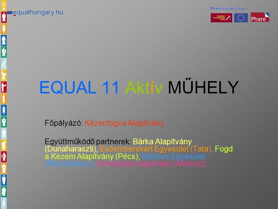 EQUAL 11 Aktív MŰHELY Főpályázó: Kézenfogva Alapítvány Együttműködő partnerek: Bárka Alapítvány (Dunaharaszti), Esőemberekért Egyesület (Tata), Fogd a