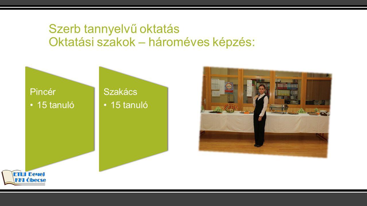 Magyar tannyelvű oktatás Oktatási szakok – négyéves képzés: Ügyviteli adminisztrátor 30 tanuló Pénzügyi adminisztrátor 30 tanuló