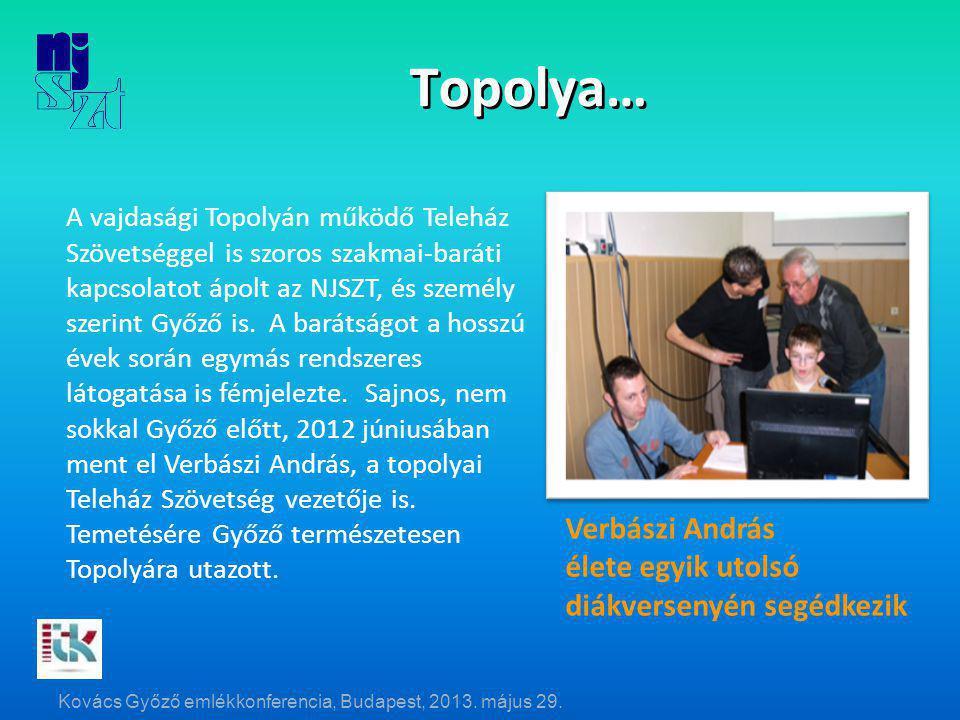 Topolya… Verbászi András élete egyik utolsó diákversenyén segédkezik A vajdasági Topolyán működő Teleház Szövetséggel is szoros szakmai-baráti kapcsolatot ápolt az NJSZT, és személy szerint Győző is.