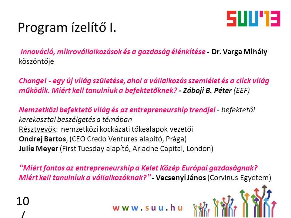 Program ízelítő I. 10 / Innováció, mikrovállalkozások és a gazdaság élénkítése - Dr. Varga Mihály köszöntője Change! - egy új világ születése, ahol a