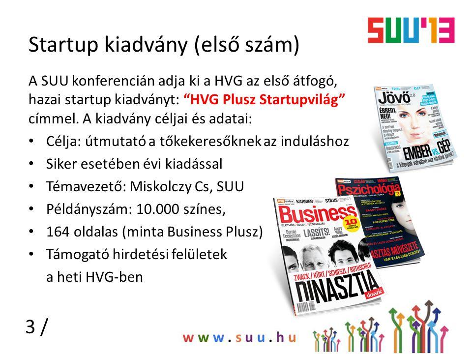 """Startup kiadvány (első szám) A SUU konferencián adja ki a HVG az első átfogó, hazai startup kiadványt: """"HVG Plusz Startupvilág"""" címmel. A kiadvány cél"""