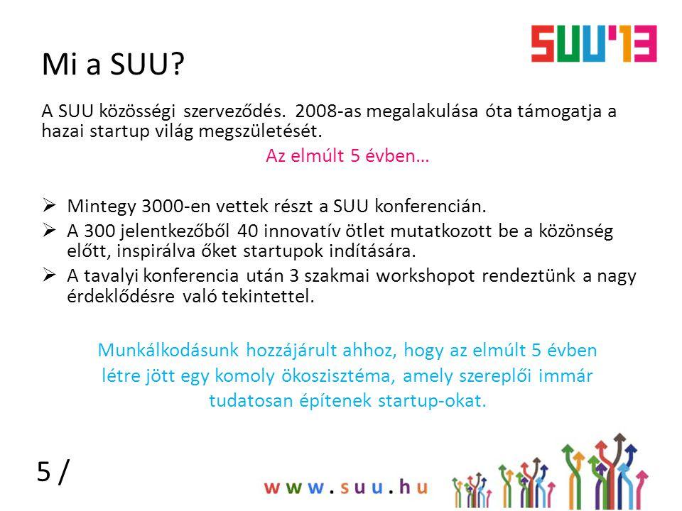 Mi a SUU? A SUU közösségi szerveződés. 2008-as megalakulása óta támogatja a hazai startup világ megszületését. Az elmúlt 5 évben…  Mintegy 3000-en ve