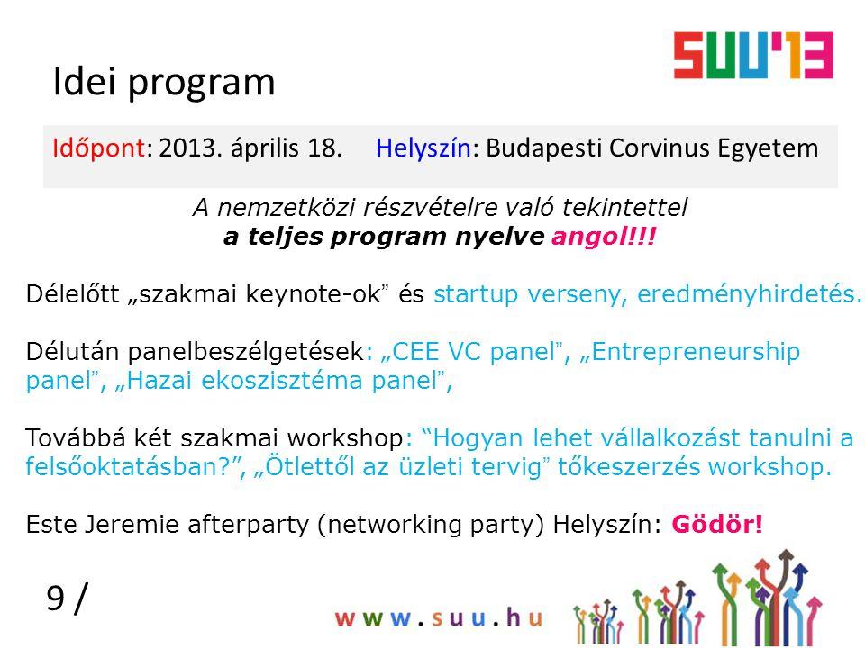 Idei program Időpont: 2013. április 18. Helyszín: Budapesti Corvinus Egyetem 9 / A nemzetközi részvételre való tekintettel a teljes program nyelve ang