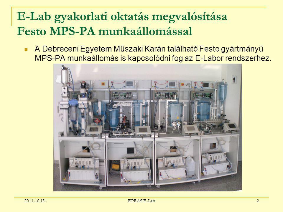 E-Lab gyakorlati oktatás megvalósítása Festo MPS-PA munkaállomással A Debreceni Egyetem Műszaki Karán található Festo gyártmányú MPS-PA munkaállomás is kapcsolódni fog az E-Labor rendszerhez.