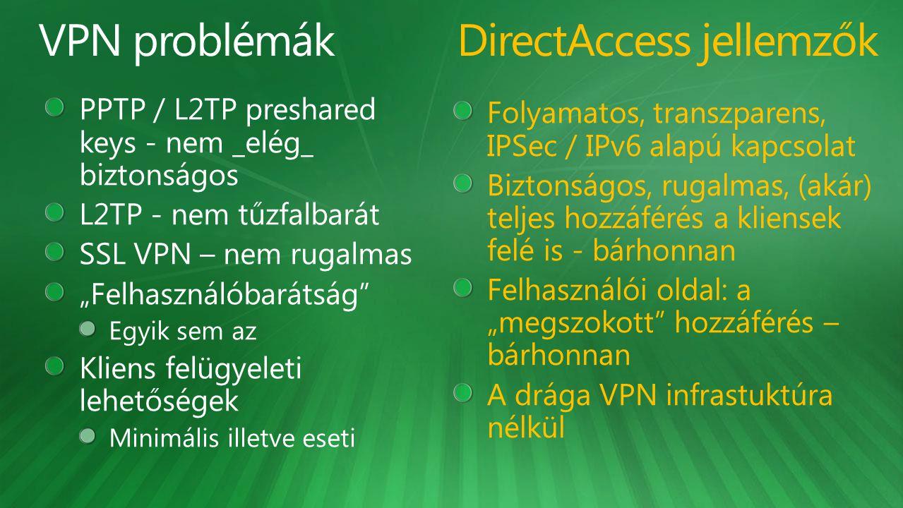 Folyamatos, transzparens, IPSec / IPv6 alapú kapcsolat Biztonságos, rugalmas, (akár) teljes hozzáférés a kliensek felé is - bárhonnan Felhasználói old