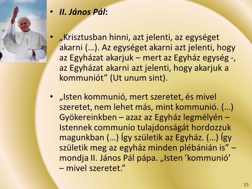 """II. János Pál: """"Krisztusban hinni, azt jelenti, az egységet akarni (…). Az egységet akarni azt jelenti, hogy az Egyházat akarjuk – mert az Egyház egys"""