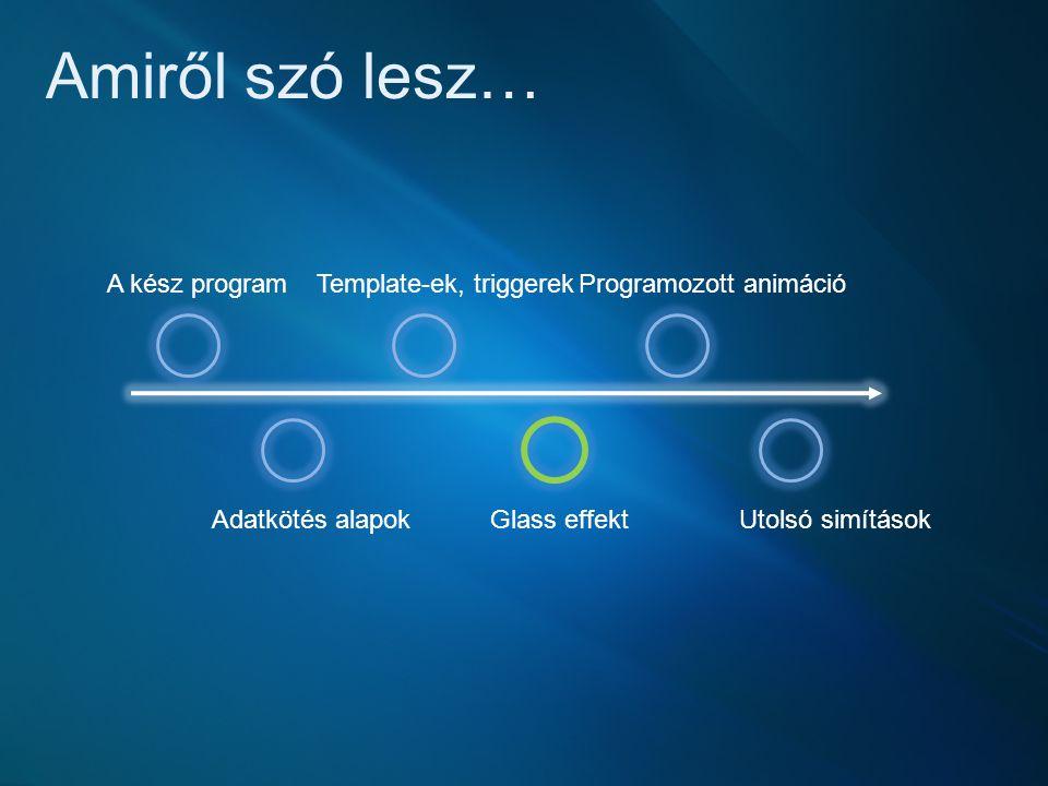 Amiről szó lesz… A kész program Adatkötés alapok Template-ek, triggerek Glass effekt Programozott animáció Utolsó simítások