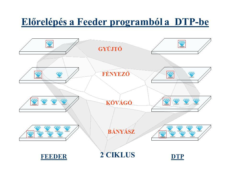Feeder és DTP Ciklus FEEDERDTP BÁNYÁSZ KŐVÁGÓ FÉNYEZŐ GYŰJTŐ A Feeder és a DTP program szerkezeti felépítése egyforma
