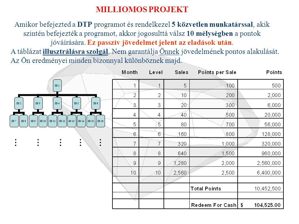 DTP Marketing Szintek GYŰJTŐ 4 DTP Szint Milliomos Project ID 1 ID 2 ID 7ID 8 ID 3 ID 9ID 10 ID 4 ID 11ID 12 ID 5 ID 13ID 14 ID 6 ID 15ID 16 Level 1 Level 2 …………… Level 3 Level 4 Level 5 Etc.