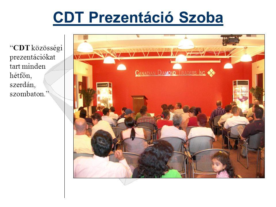 CDT Prezentáció Szoba CDT közösségi prezentációkat tart minden hétfőn, szerdán, szombaton.