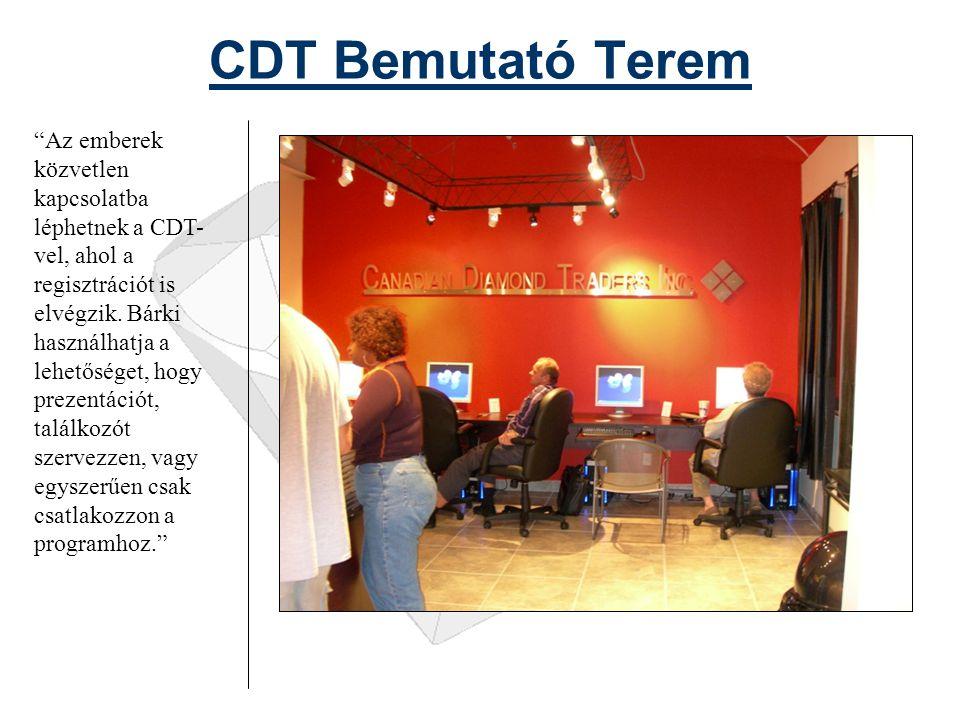 CDT Bemutató Terem Az emberek közvetlen kapcsolatba léphetnek a CDT- vel, ahol a regisztrációt is elvégzik.