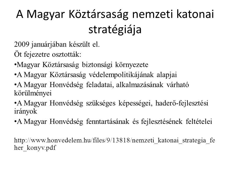 A Magyar Köztársaság nemzeti katonai stratégiája 2009 januárjában készült el. Öt fejezetre osztották: Magyar Köztársaság biztonsági környezete A Magya
