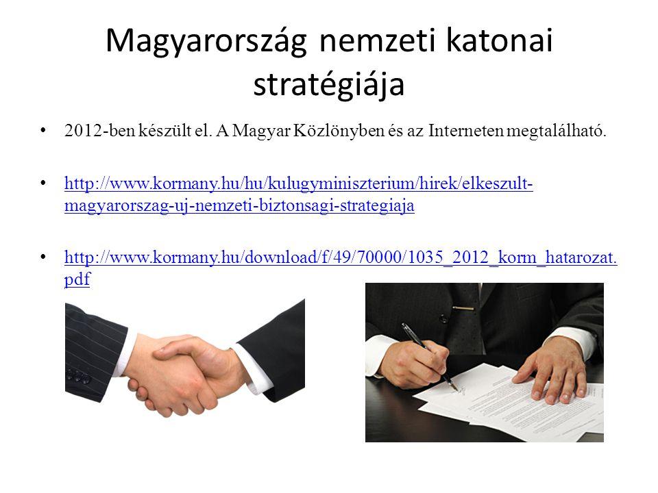 Magyarország nemzeti katonai stratégiája 2012-ben készült el. A Magyar Közlönyben és az Interneten megtalálható. http://www.kormany.hu/hu/kulugyminisz