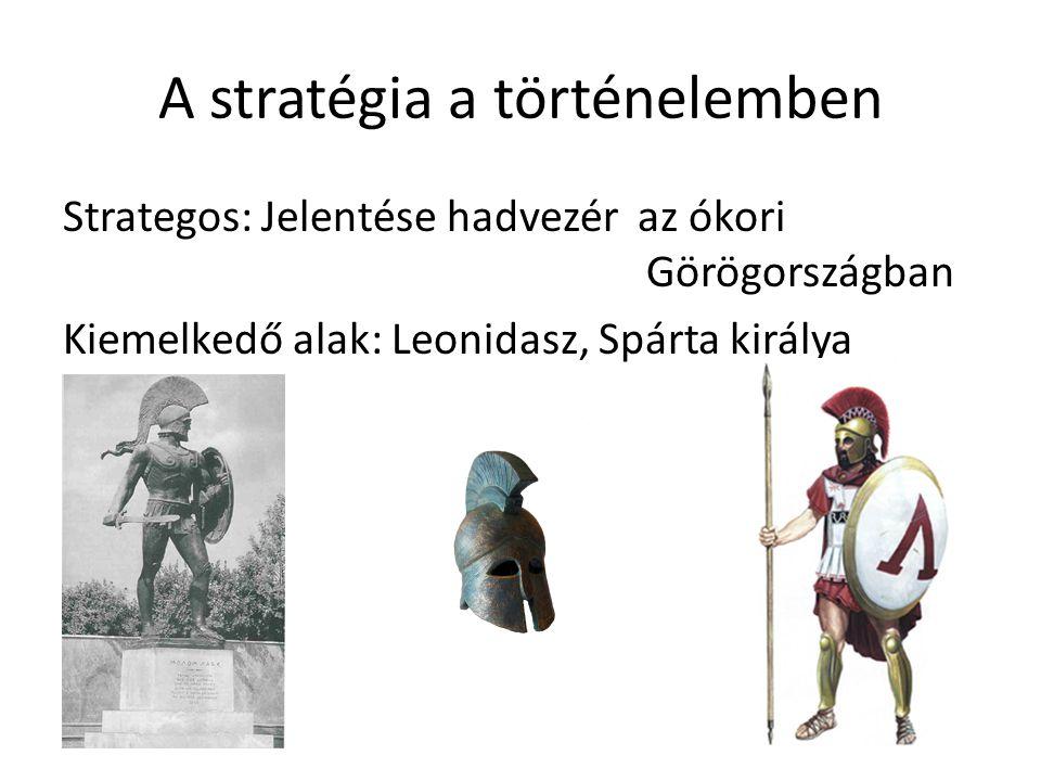 A stratégia a történelemben Strategos: Jelentése hadvezér az ókori Görögországban Kiemelkedő alak: Leonidasz, Spárta királya