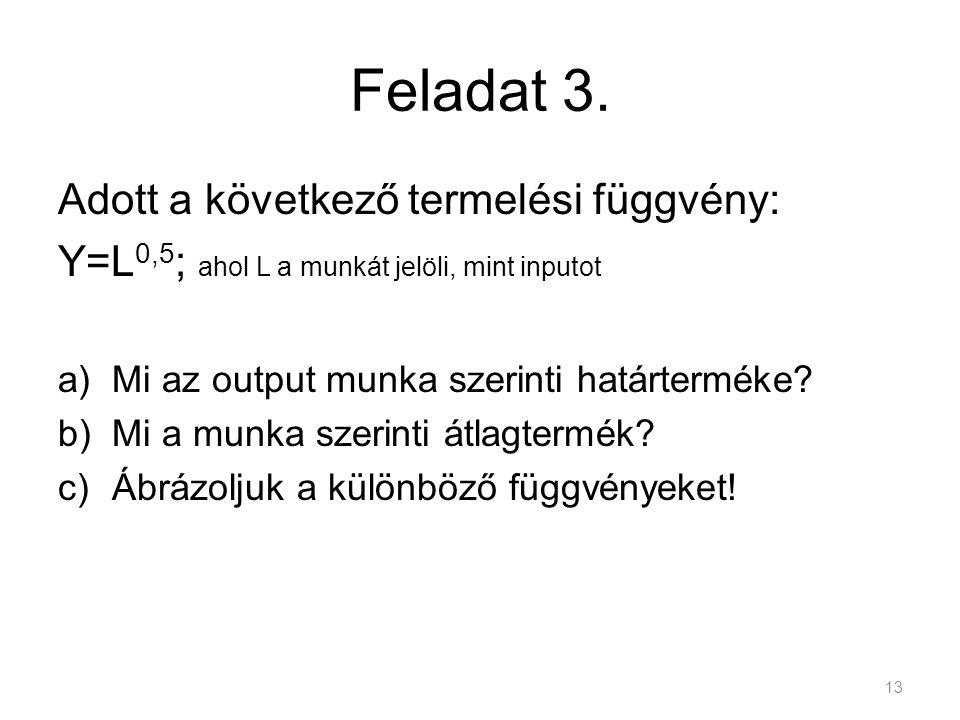 Feladat 3. Adott a következő termelési függvény: Y=L 0,5 ; ahol L a munkát jelöli, mint inputot a)Mi az output munka szerinti határterméke? b)Mi a mun
