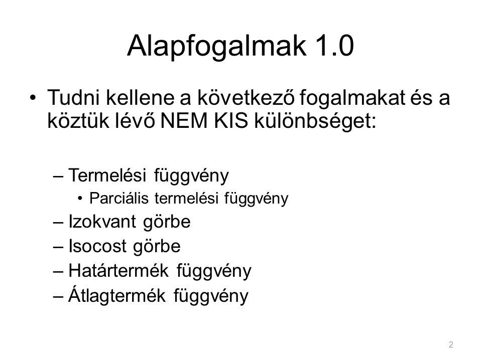 Változók: Input tényezők –Valamilyen árral Termék –Értékesítési árral x k w x k Y; Q Alapfogalmak ahol a k a felhasznált tényezők száma P y P Q