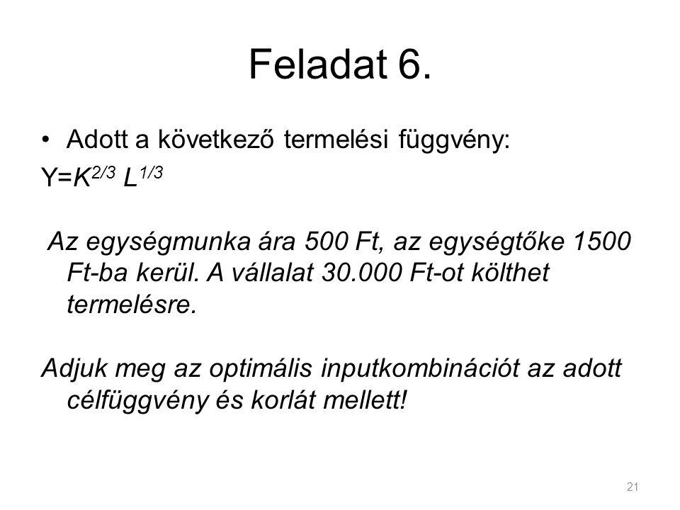 Feladat 6. Adott a következő termelési függvény: Y=K 2/3 L 1/3 Az egységmunka ára 500 Ft, az egységtőke 1500 Ft-ba kerül. A vállalat 30.000 Ft-ot költ