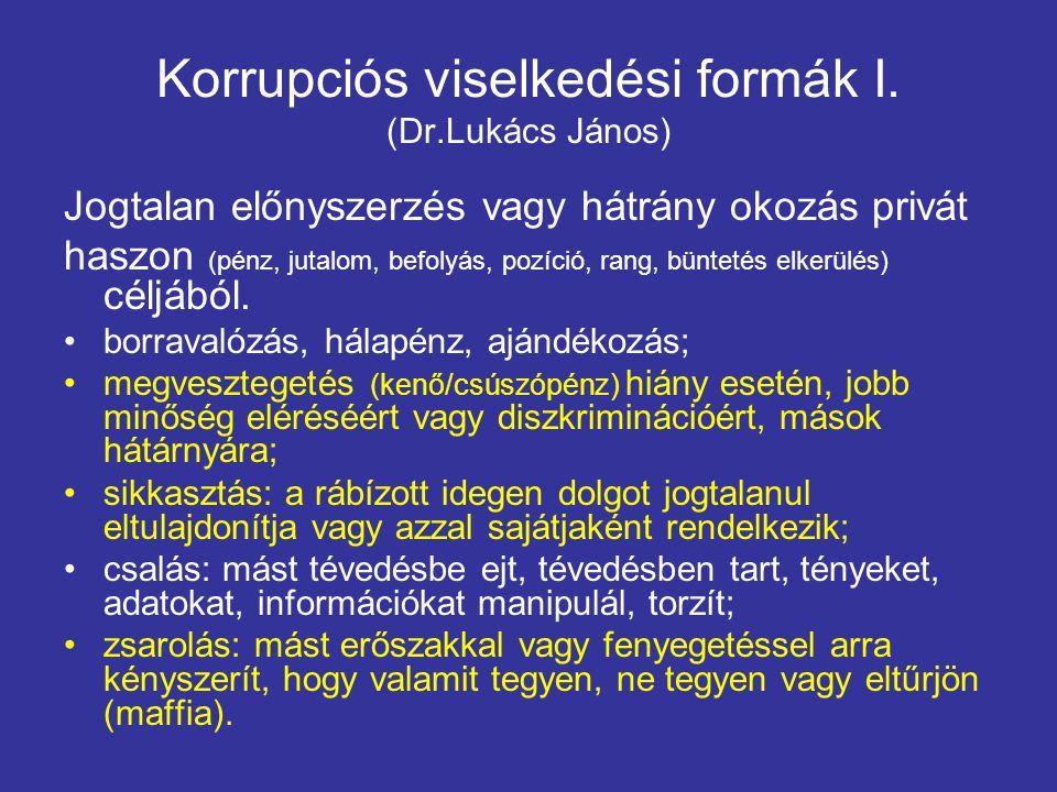 Korrupciós viselkedési formák I. (Dr.Lukács János) Jogtalan előnyszerzés vagy hátrány okozás privát haszon (pénz, jutalom, befolyás, pozíció, rang, bü