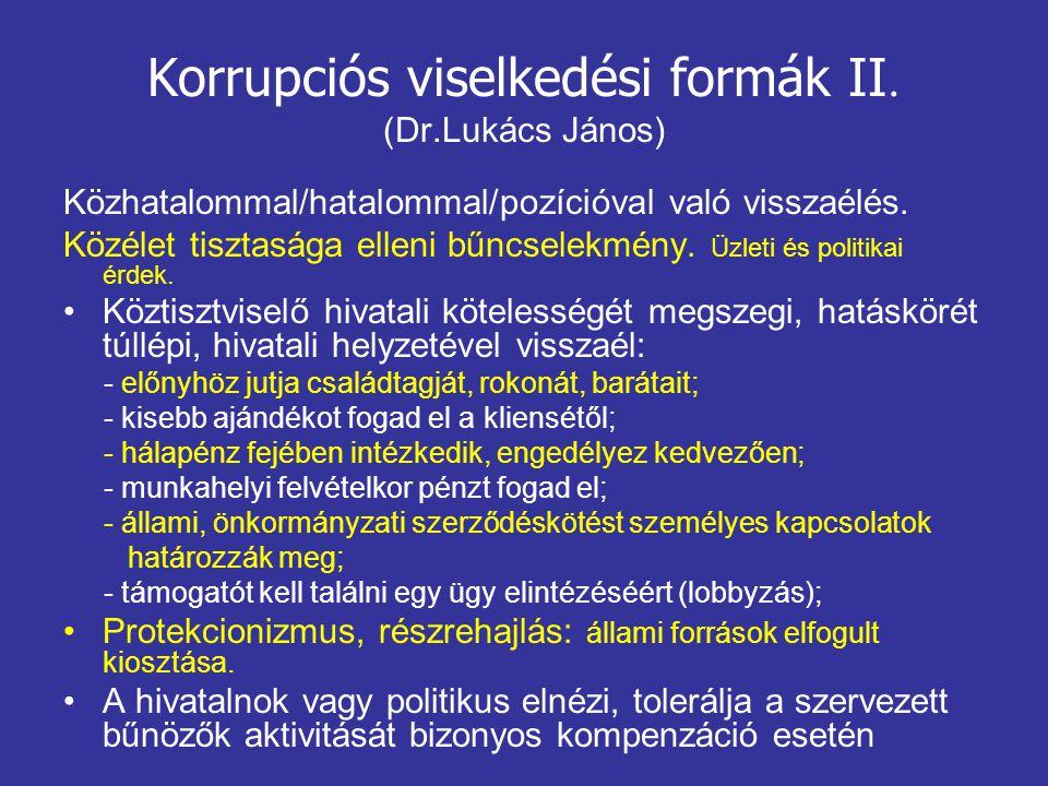 Korrupciós viselkedési formák II. (Dr.Lukács János) Közhatalommal/hatalommal/pozícióval való visszaélés. Közélet tisztasága elleni bűncselekmény. Üzle